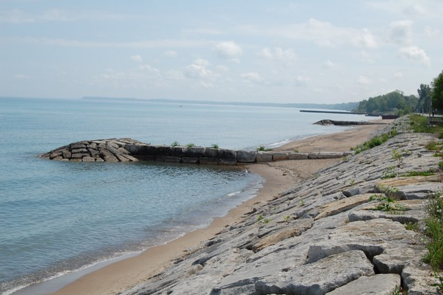 armour stone wall with a groyne for the Sarnia Erosion Control Project