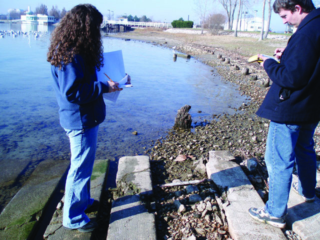 SCRCA staff undertaking an inventory of the St. Clair River shoreline