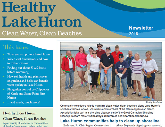 Healthy Lake Huron: Clean Water, Clean Beaches Releases 2016 Newsletter