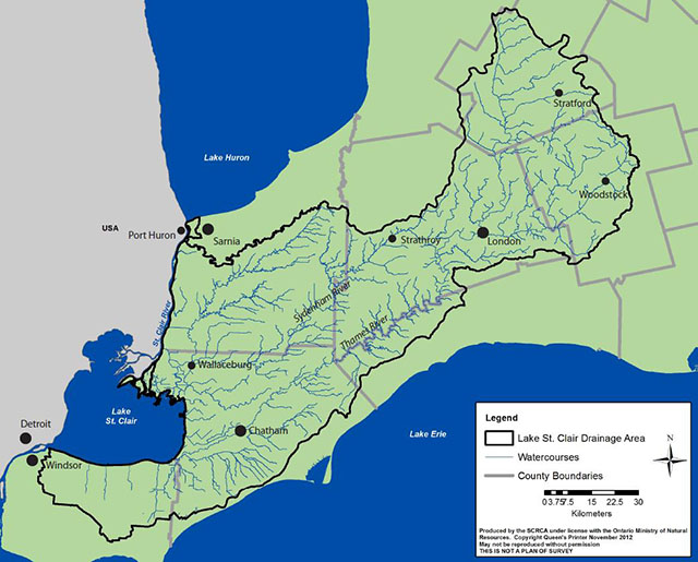 Lake St. Clair Canadian Watershed Management Plan « St. Clair Region Canadian River Map on
