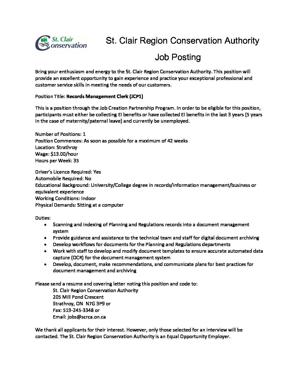 ... Job Posting âu20acu201c JCP Records Management Clerk Pdf ...